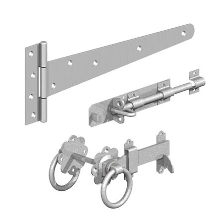 """Birkdale GATEMATE® Field Gate Side Gate Kit with Ring Gate Latch & 18"""" Hinges Galvanised"""