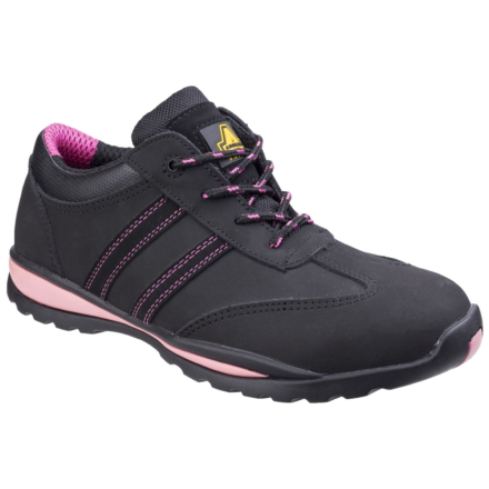 Amblers FS47 Heat Resistant Lace Up Safety Trainer Black/Pink DFS