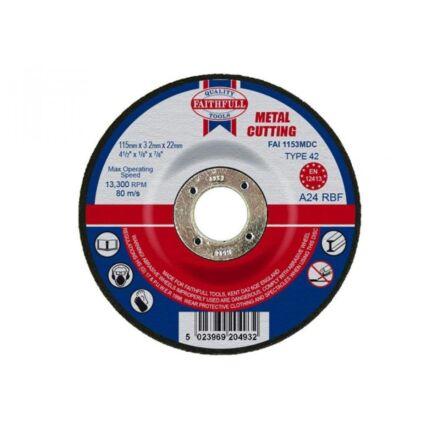 Faithfull Depressed Centre Metal Cutting Disc115 x 3.2mm x 22mm