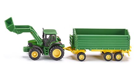 John deere with loader and trailer