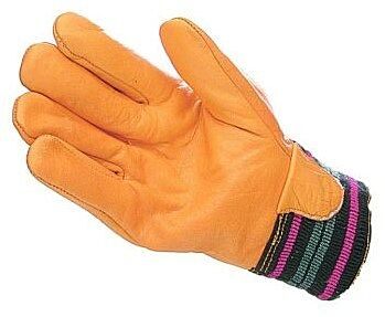 Yellow Lined Cowhide Driver Style Gloves