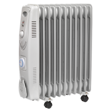 Sealey 2500W 11 Element Oil Filled Radiator with Timer
