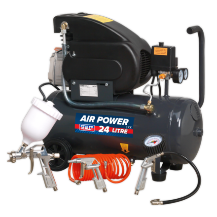 Sealey 24L Direct Drive Compressor 2hp with 4pc Air Accessory Kit