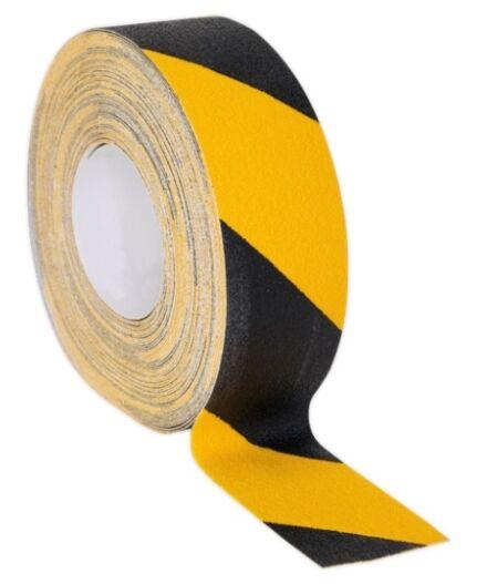 SEALEY Anti-Slip Tape Self-Adhesive Black Yellow 50mm x 18m