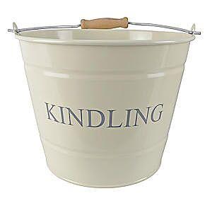 Small Metal Fireside Kindling Bucket Cream
